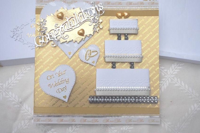 Wedding Day Card Hand Made Boxed Keepsake with Wedding Cake & Mr & Mrs Ribbon